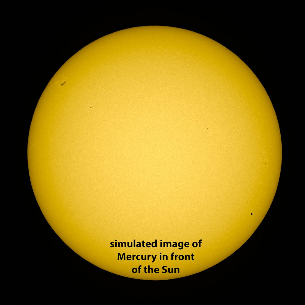 Simulated view of the mercury transit