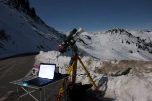 My astrophotography setup : Astroprofessional 80mm ED, QHY5 autoguider, Nikon D7000, Super Polaris Mount