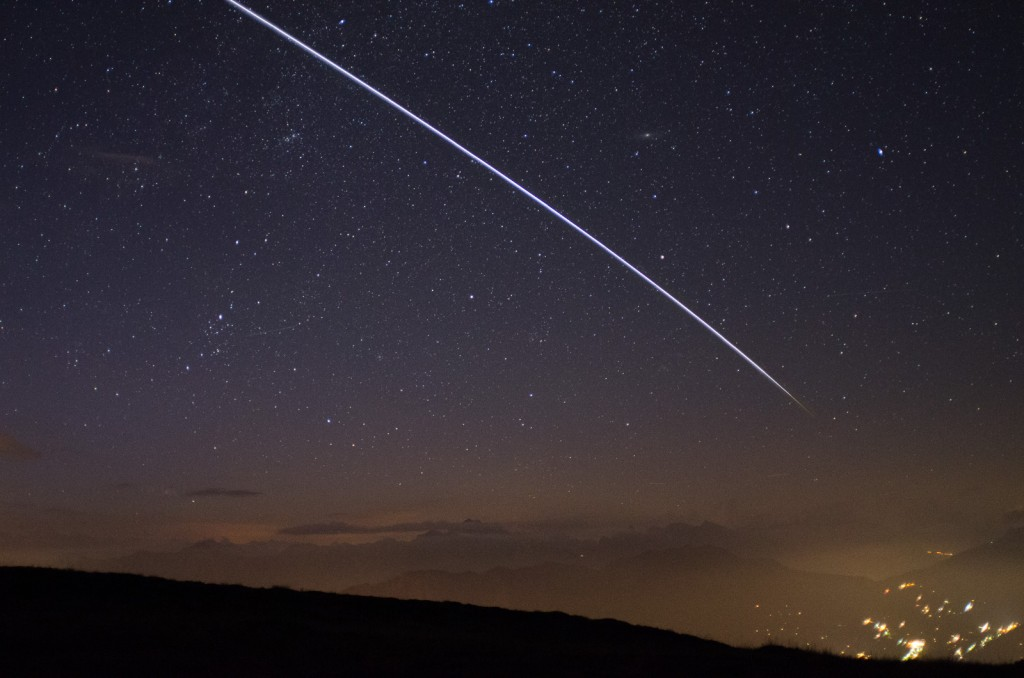 The ISS passing overhead is recorded as a bright trail on this image created from multiple isngle exposures.