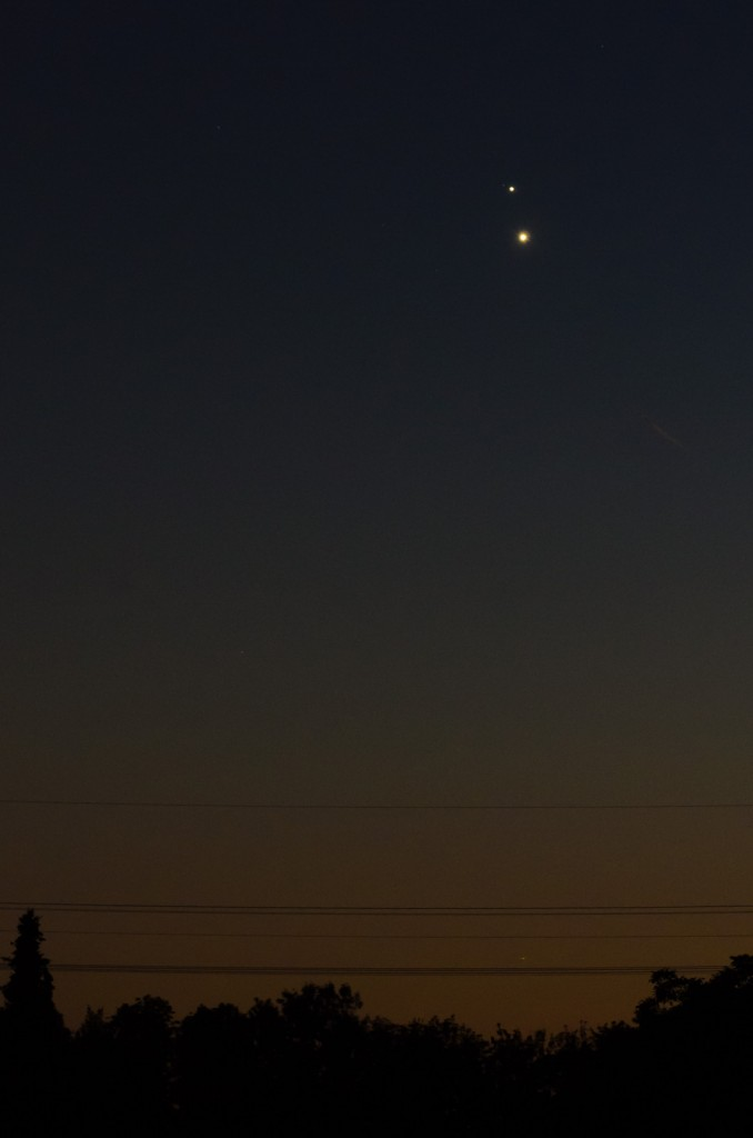Jupiter and Venus in the evening sky