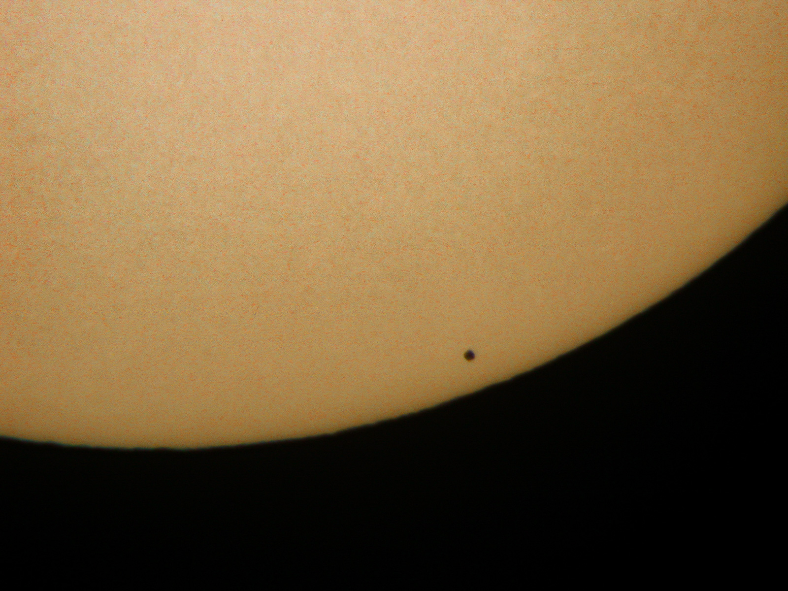 Mercury's disc silhouetted against the sun